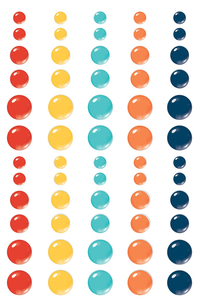 School Life Enamel Dots Embellishments 60/Pkg-