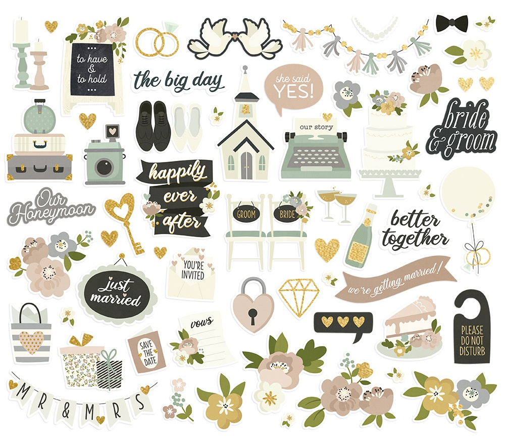Happily Ever After Bits & Pieces Die-Cuts 60/Pkg-