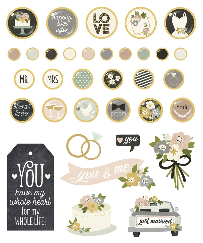 Happily Ever After Decorative Brads-