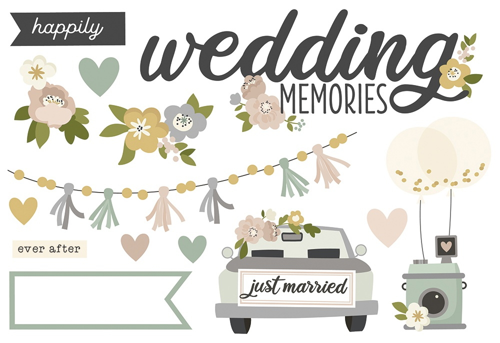 Simple Stories Simple Pages Page Pieces-Wedding Memories