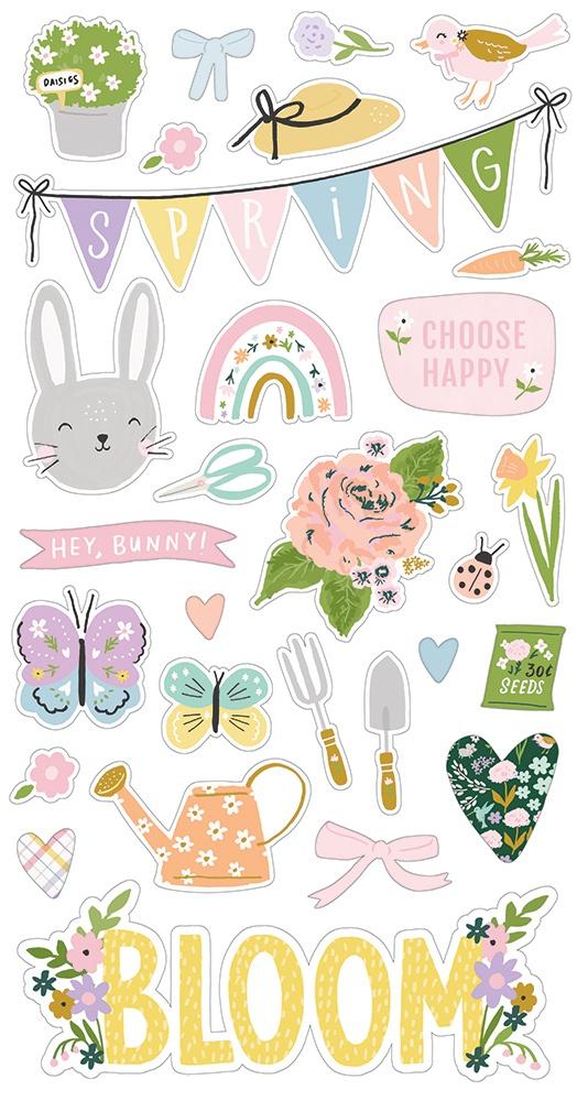Bunnies & Blooms Chipboard Stickers 6X12-