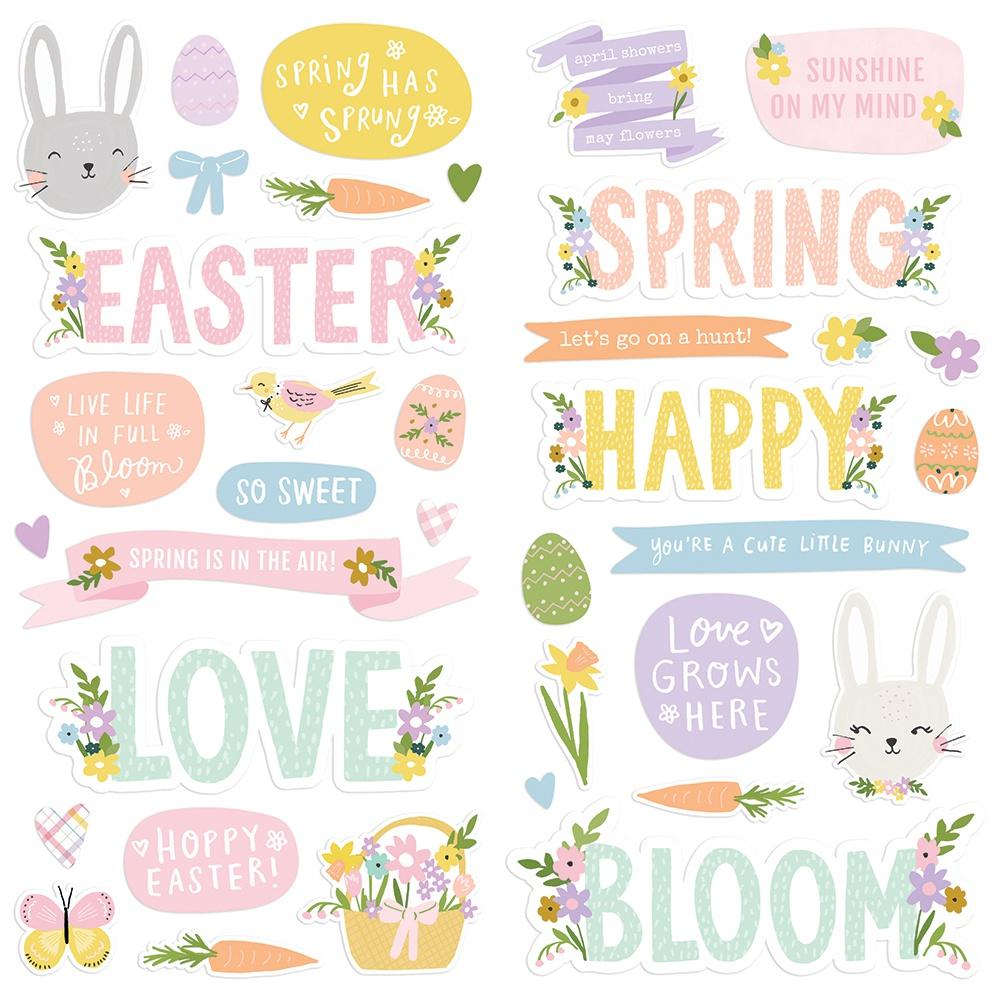 Bunnies & Blooms Foam Stickers 36/Pkg-