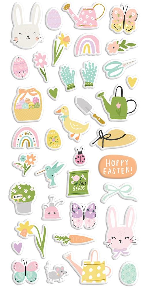 Bunnies & Blooms Puffy Stickers 38/Pkg-