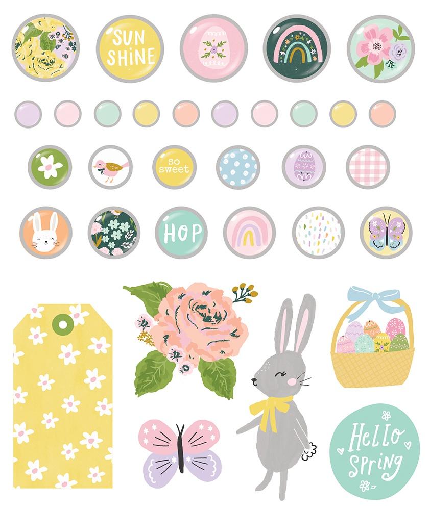 Bunnies & Blooms Decorative Brads 27/Pkg-