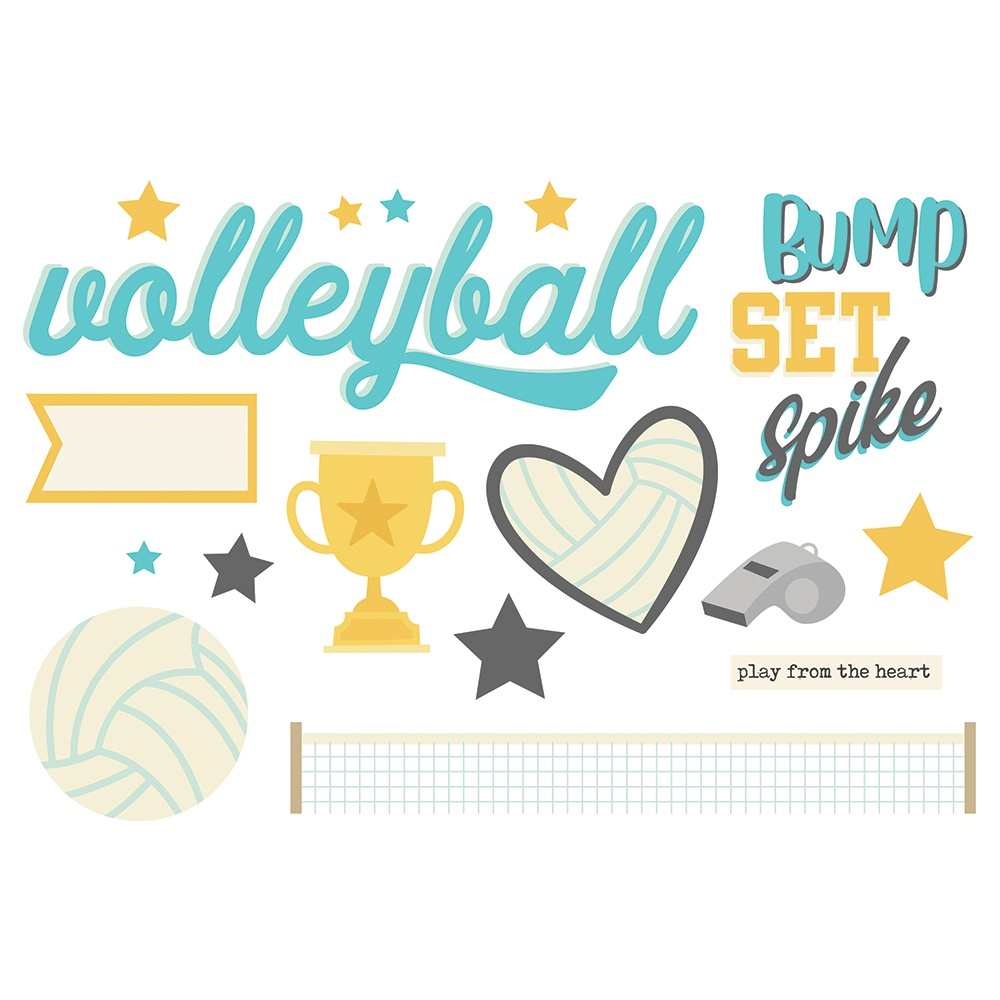 Volleyball- Simple Stories Simple Pages Page Pieces-