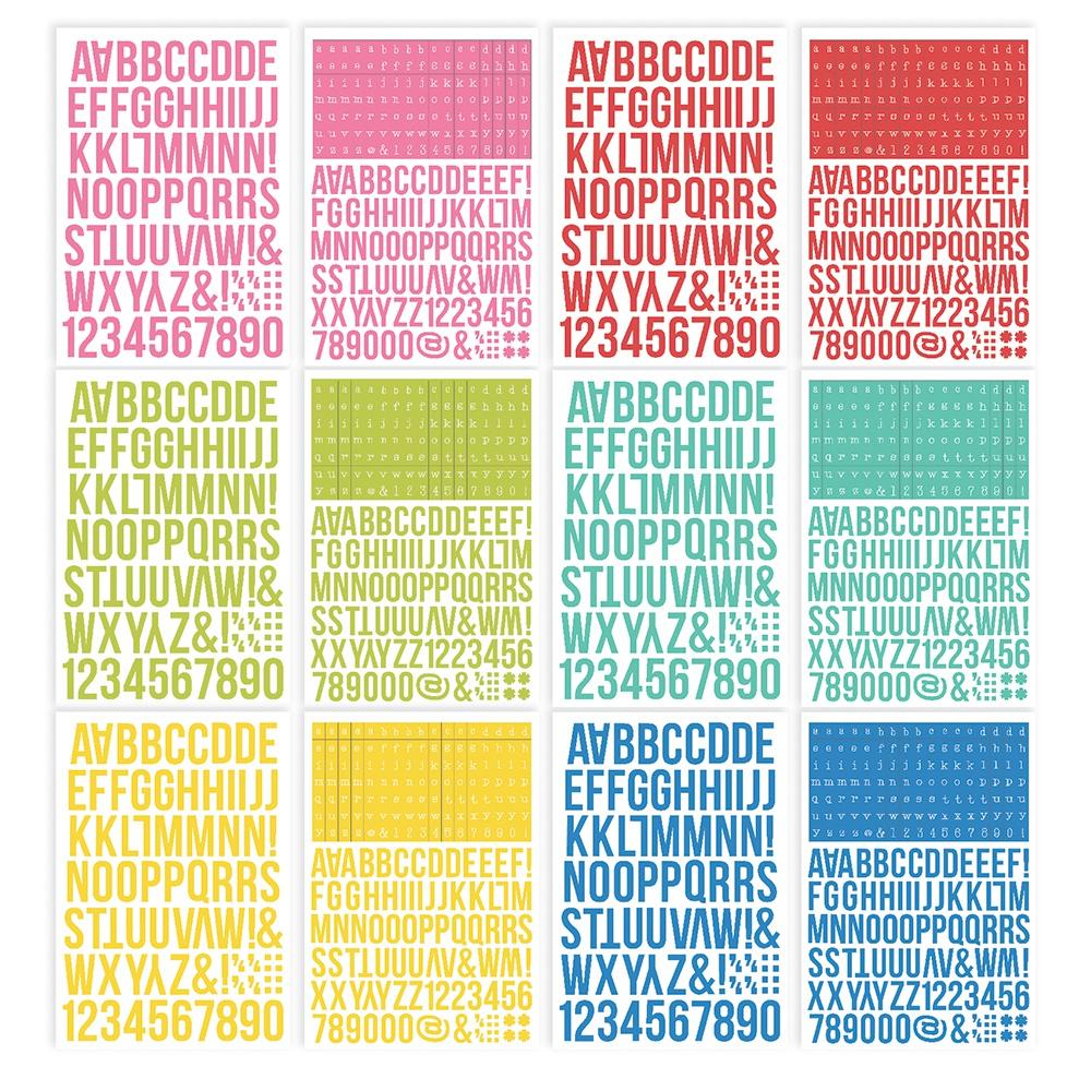 Simple Stories Color Vibe Alpha Sticker Book 12/Sheets-Summer, 1758/Pkg