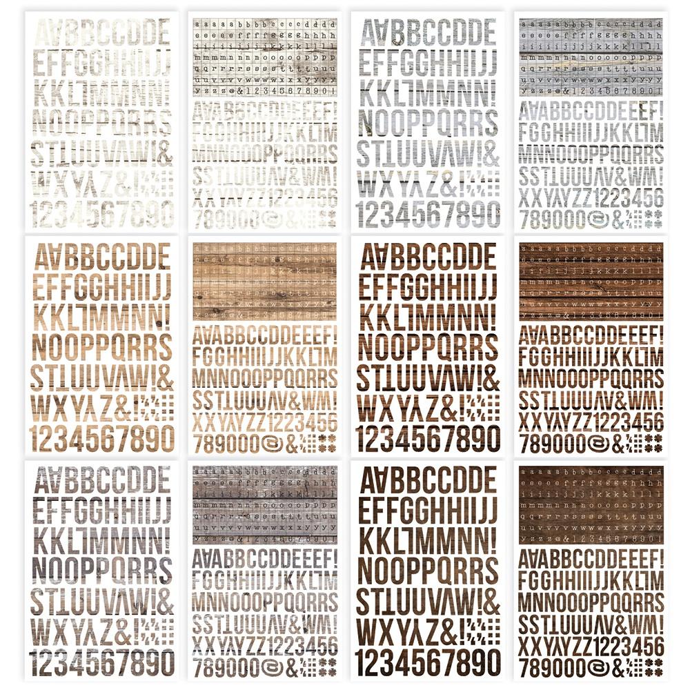 Simple Stories Color Vibe Alpha Sticker Book 12/Sheets-Woods, 1758/Pkg