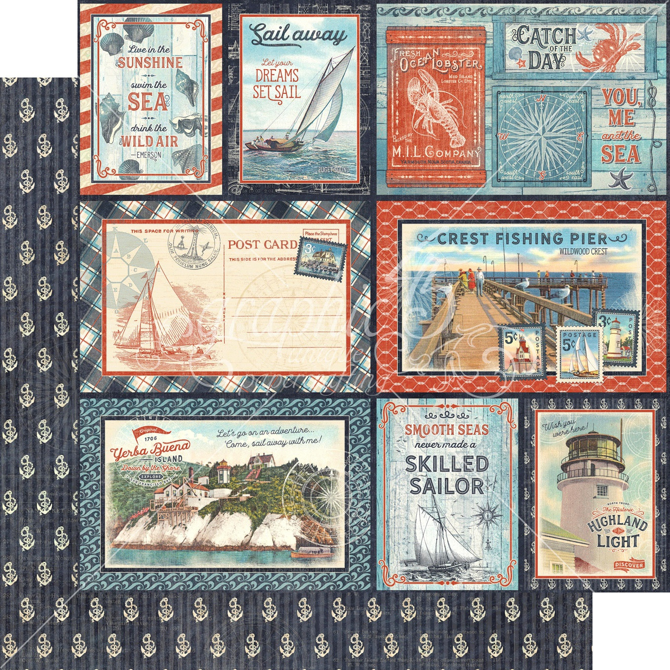 Catch Of The Day Double-Sided Cardstock - Smooth Sailing 12x12