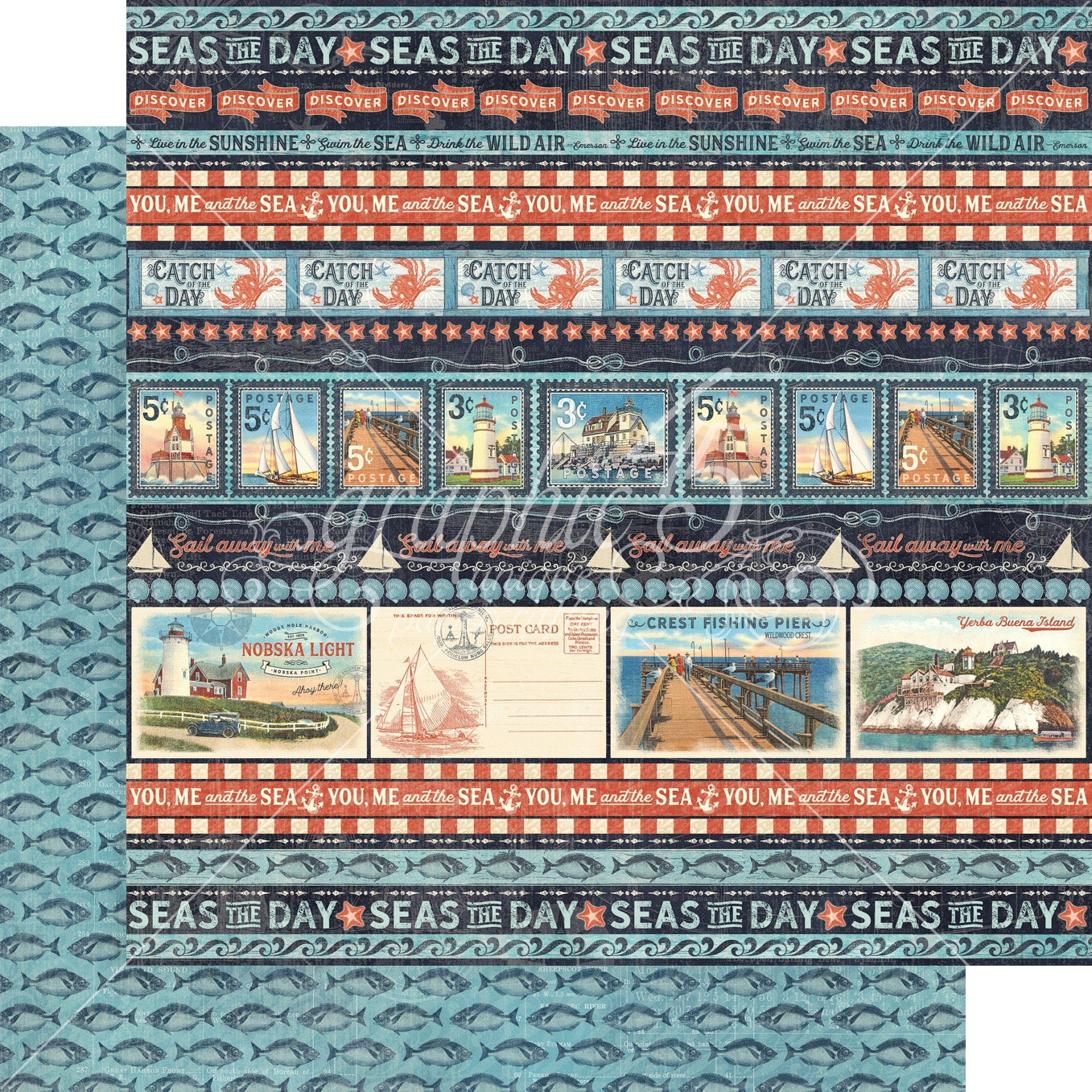 Catch Of The Day Double-Sided Cardstock - Let's Go Fishing 12x12