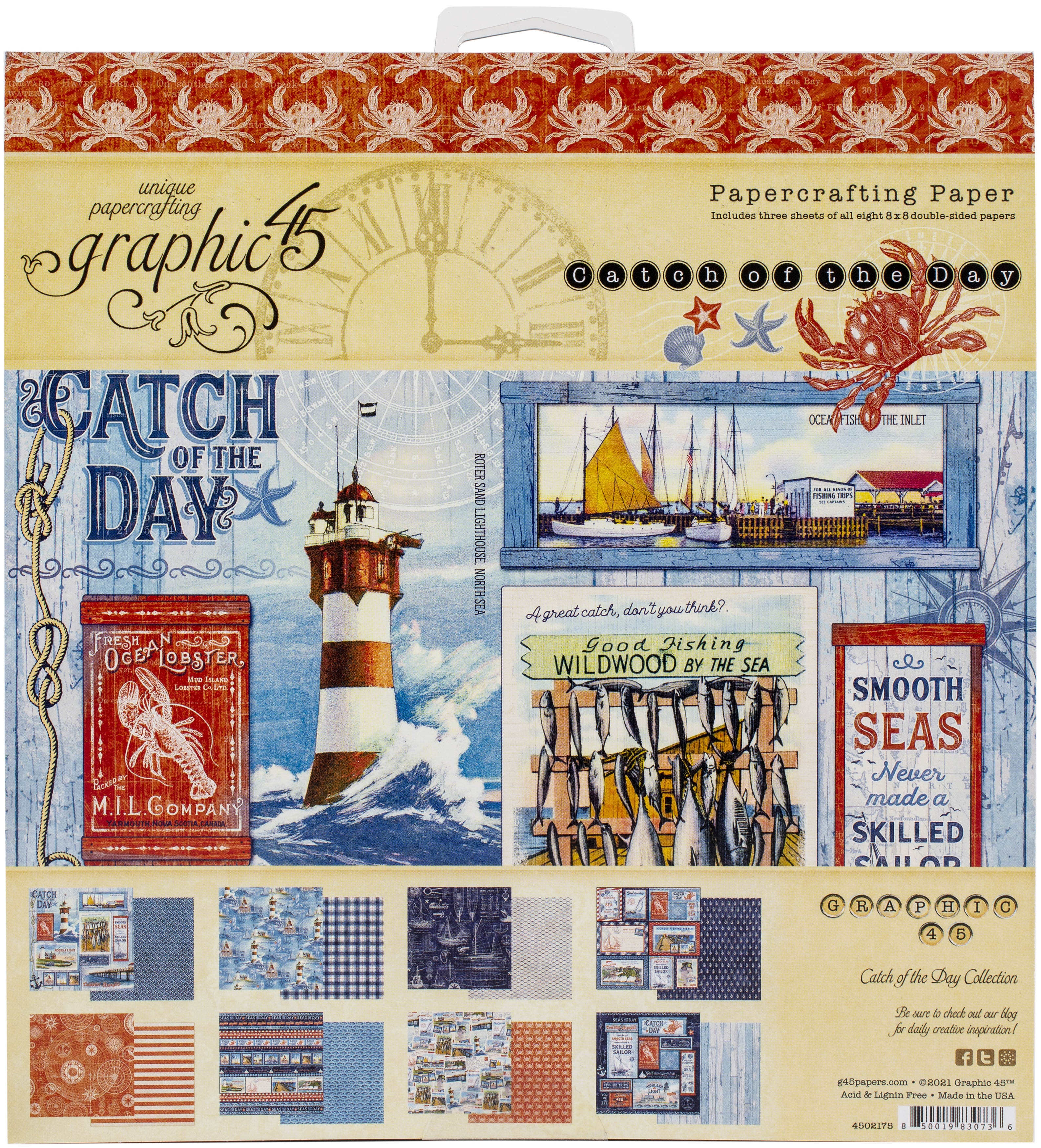 Graphic 45 Double-Sided Paper Pad 8X8 - Catch Of The Day