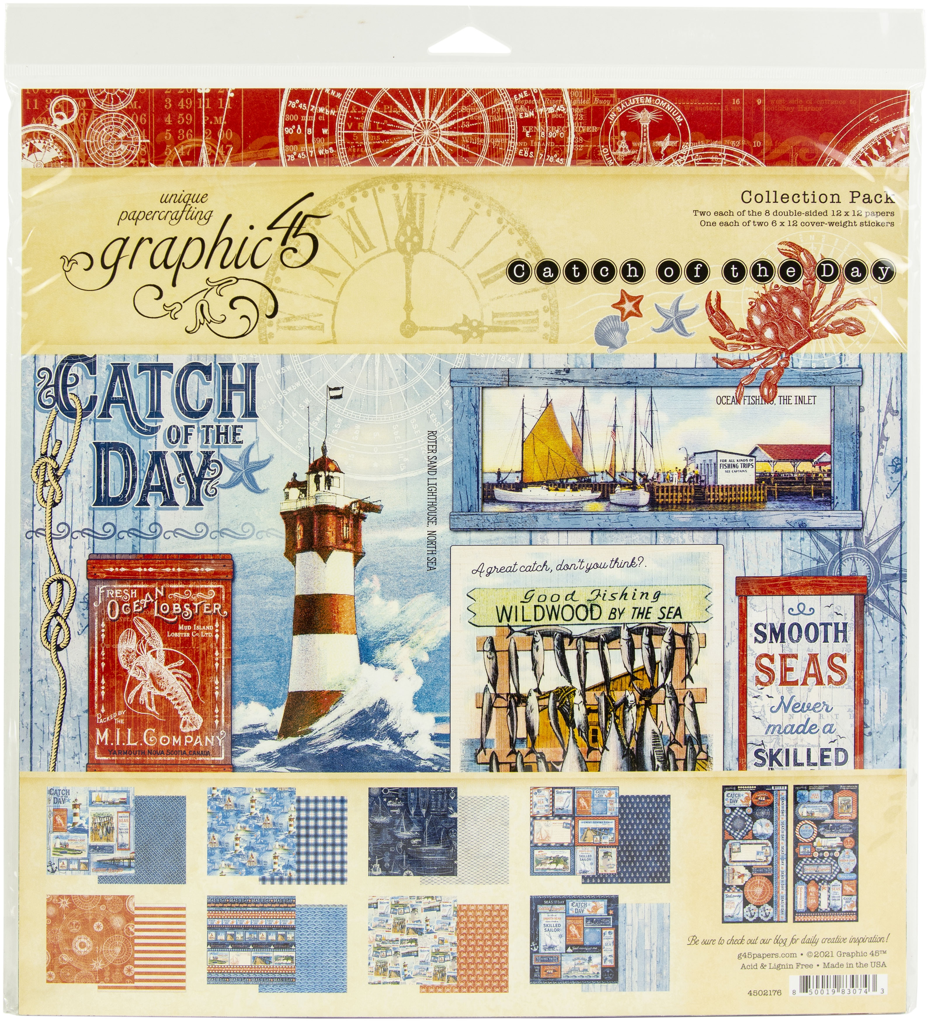 Graphic 45 Collection Pack 12X12- Catch Of The Day
