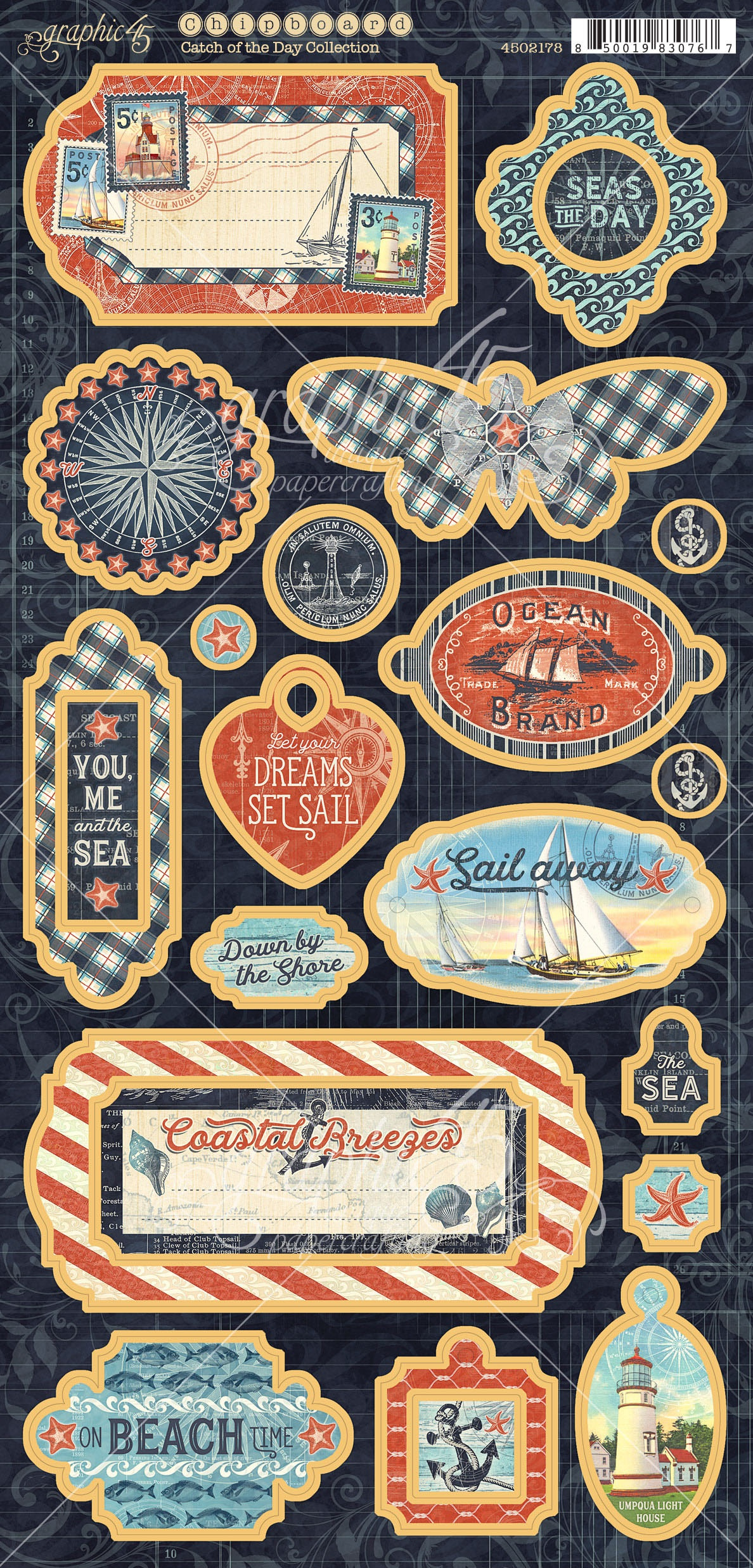 Graphic 45 - Catch Of The Day 6X12 Diecut Sheet
