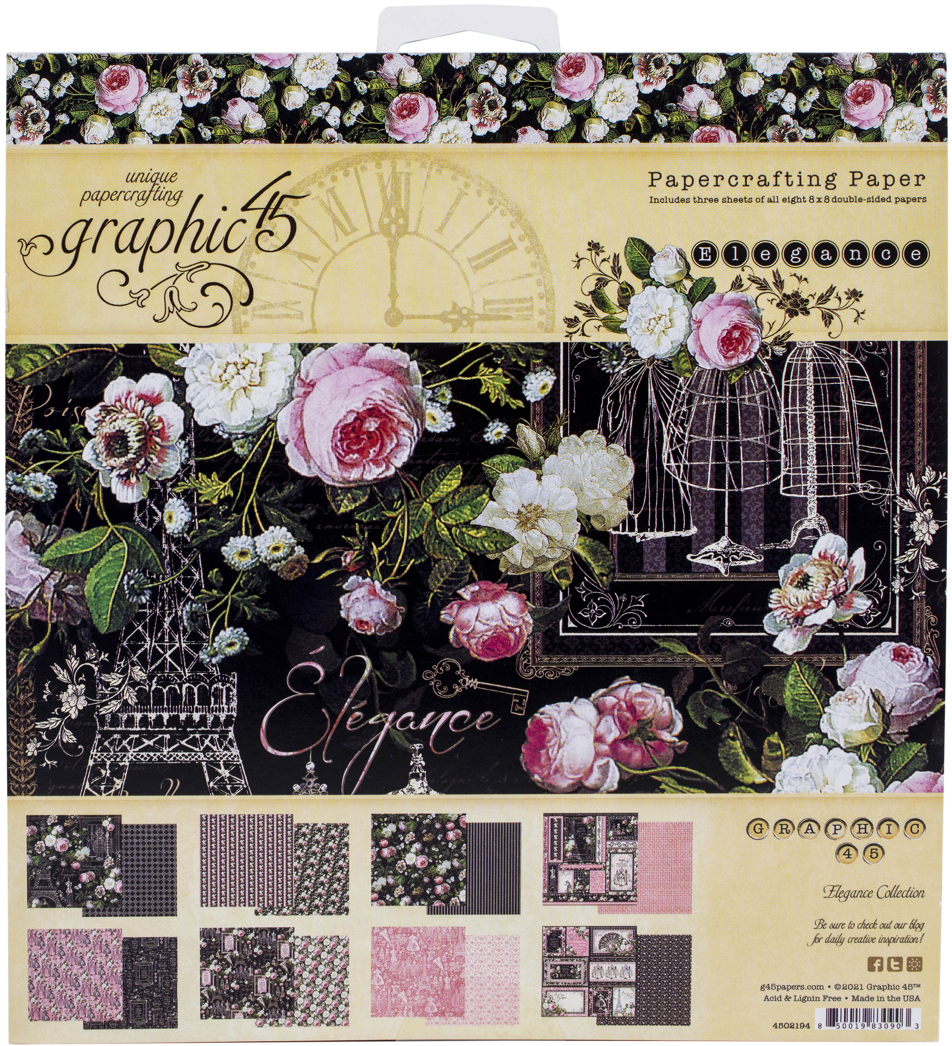 Graphic 45 Double-Sided Paper Pad 8X8 24/Pkg-Elegance