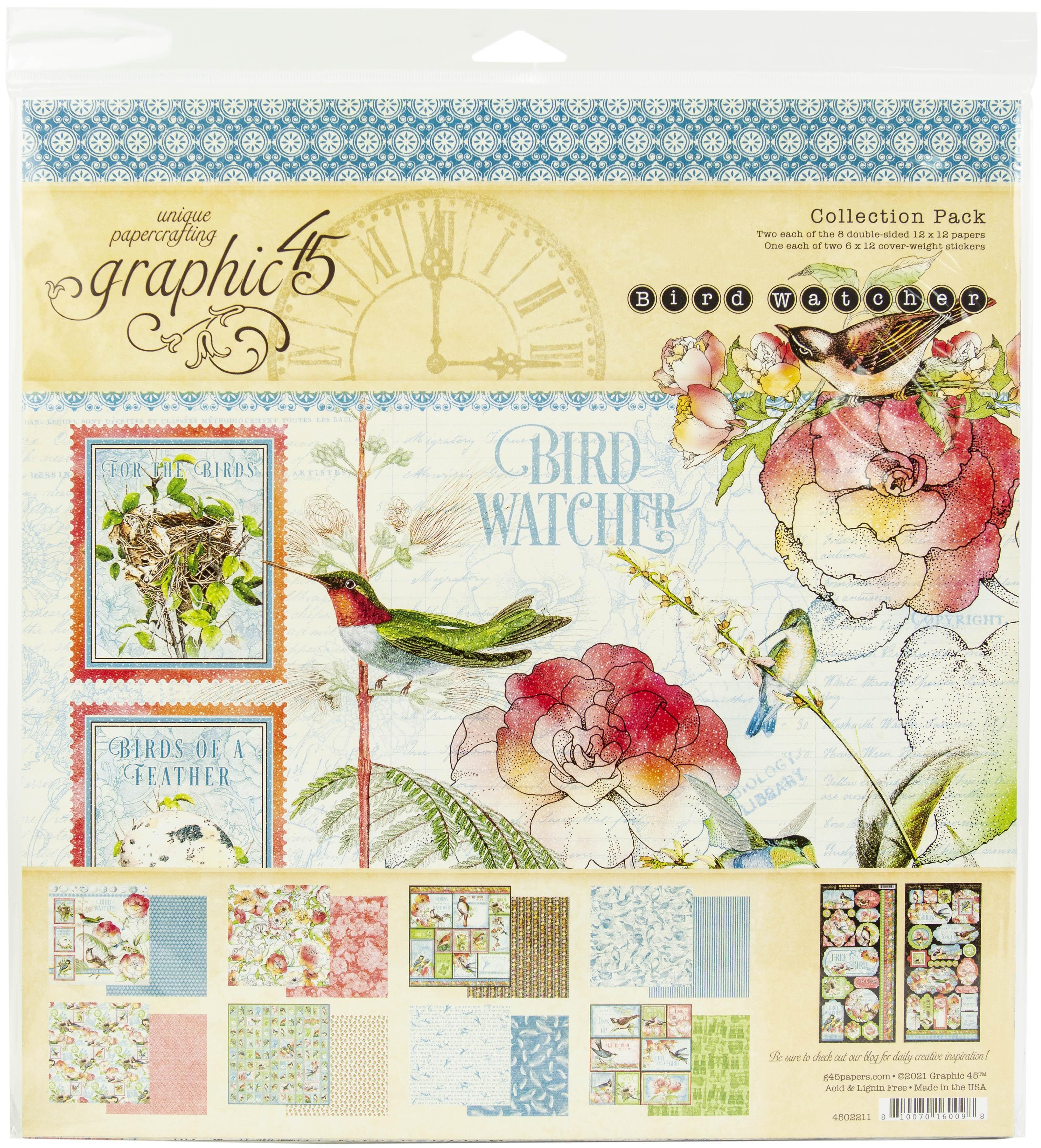 Graphic 45 Collection Pack 12X12 - Bird Watcher