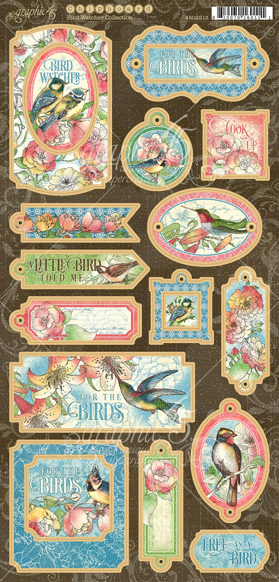 Bird Watcher Chipboard Die-Cuts 6X12 Sheet-