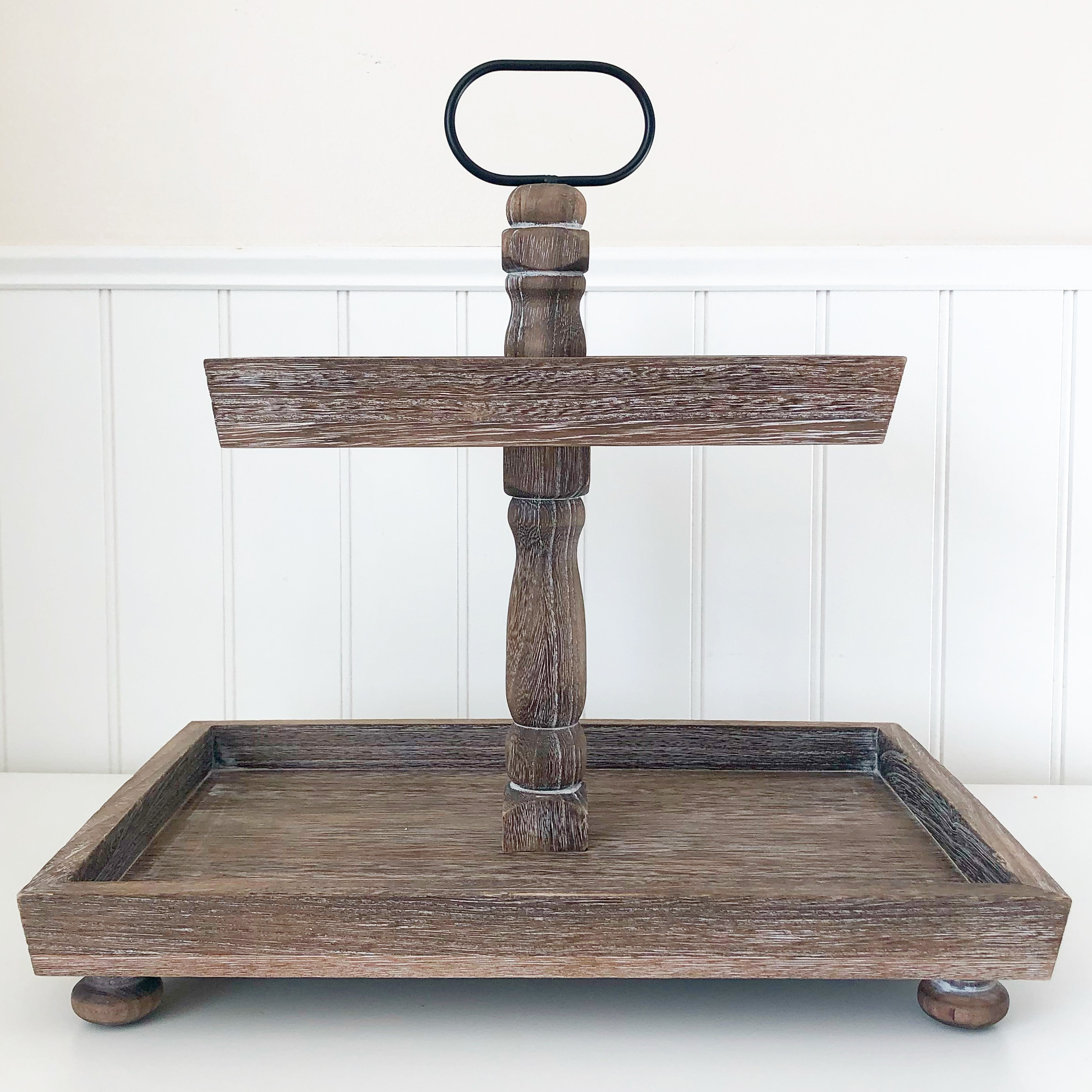 FD Tiered Tray-Antique Finish, Rectangle 15.75