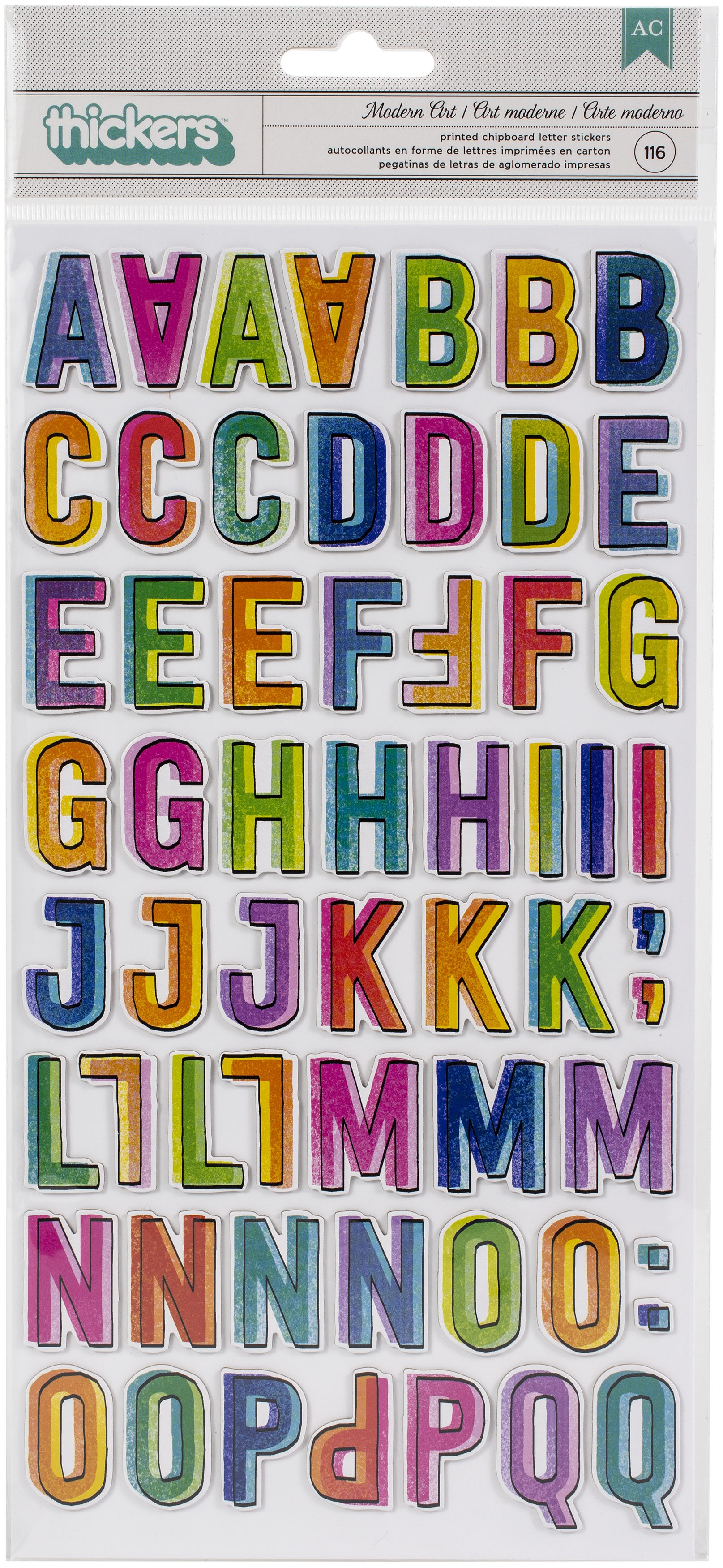 Vicki Boutin Color Study Thickers Stickers 116/Pkg-Modern Art Alphabet/Chipboard
