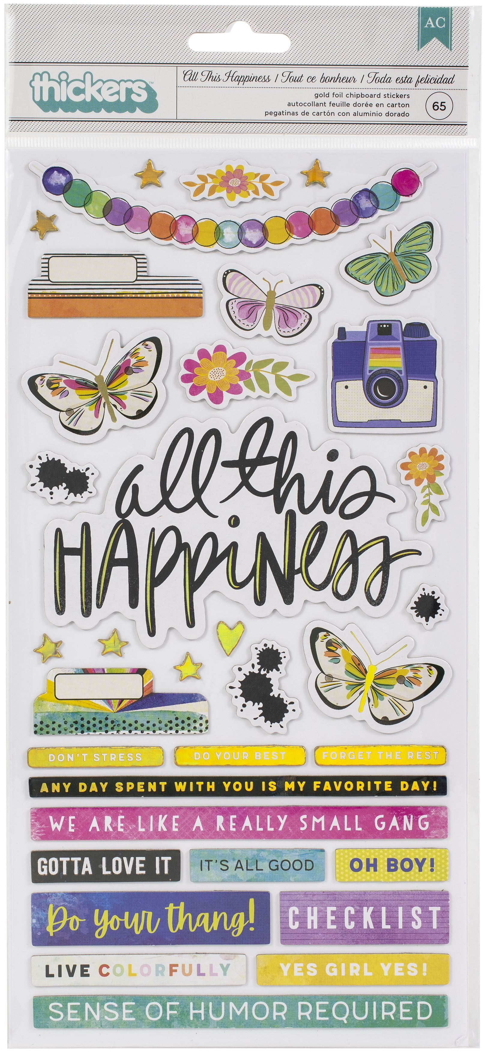 Vicki Boutin Color Study Thickers Stickers 65/Pkg-All This Happiness Phrase/Chipboard