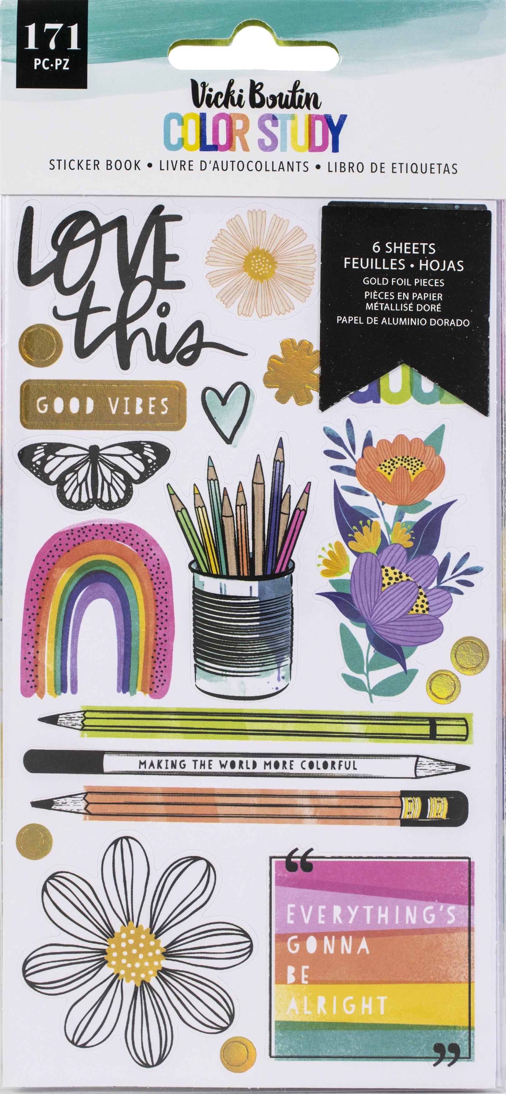 Vicki Boutin Color Study Sticker Book-W/Gold Foil Accents 171/Pkg