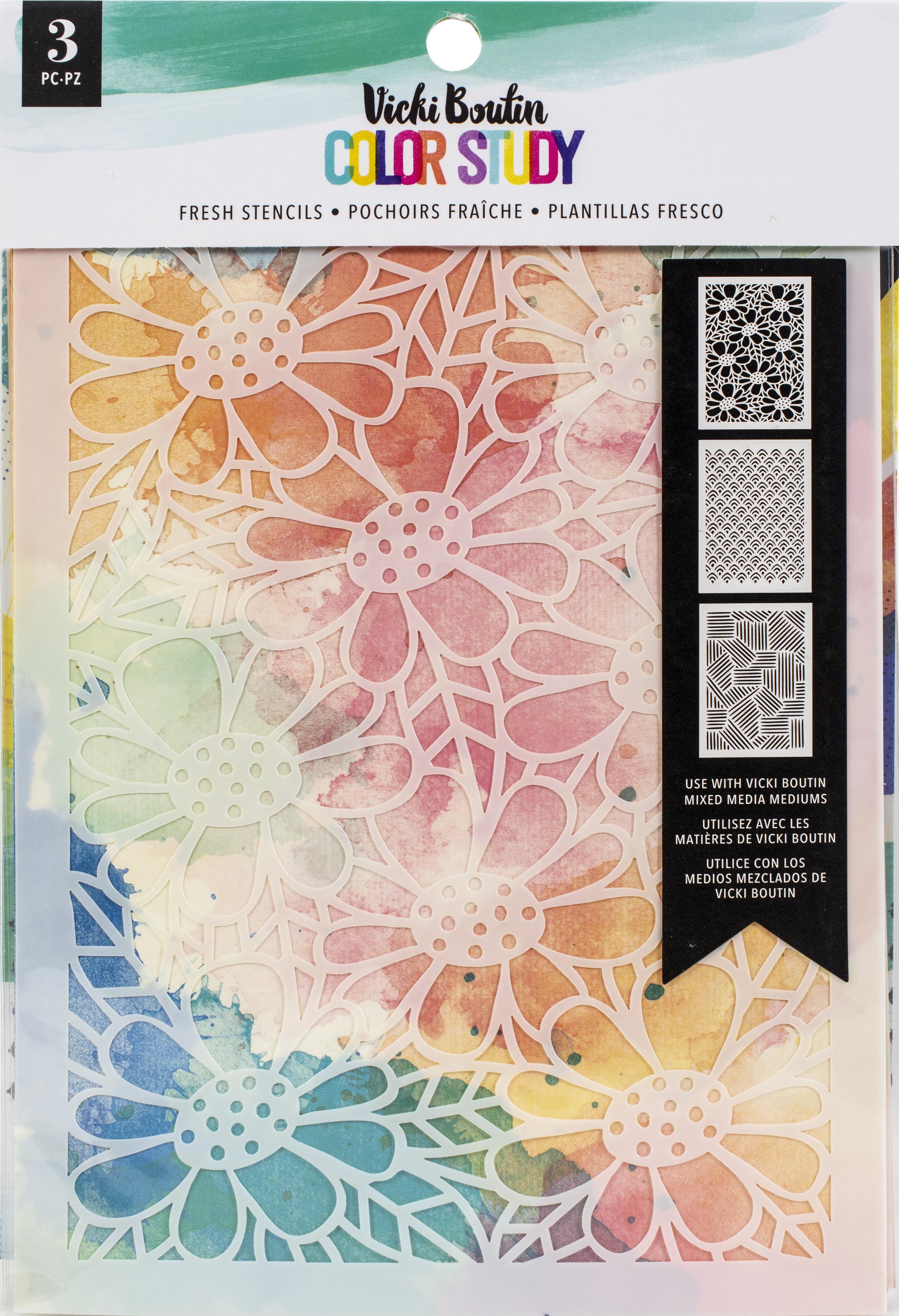 Vicki Boutin Color Study Stencils 3/Pkg-Fresh