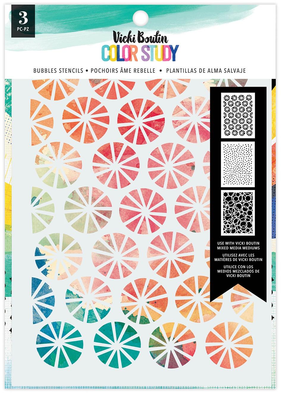 Vicki Boutin Color Study Stencils 3/Pkg-Bubbles