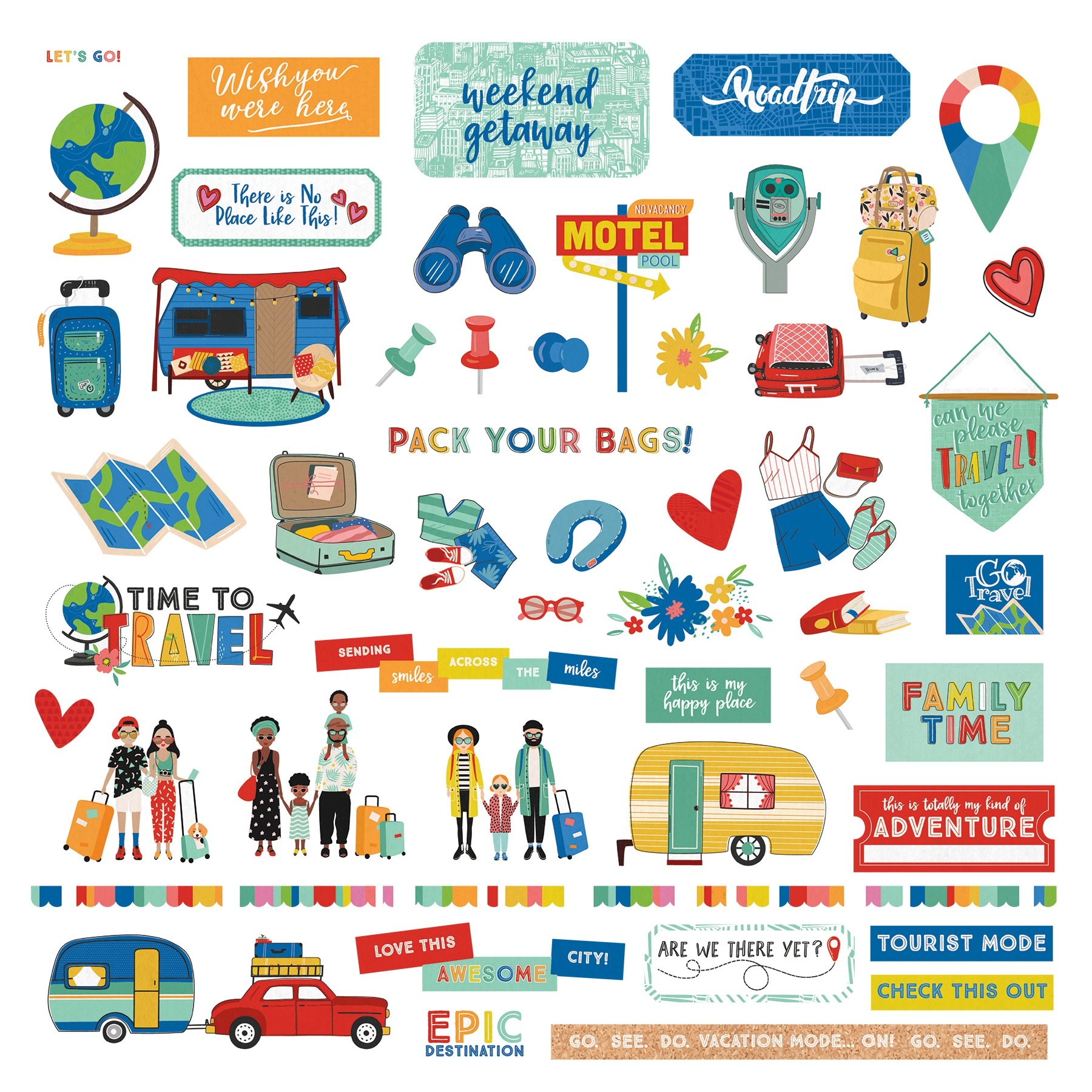 Time To Travel Stickers 12X12-Elements