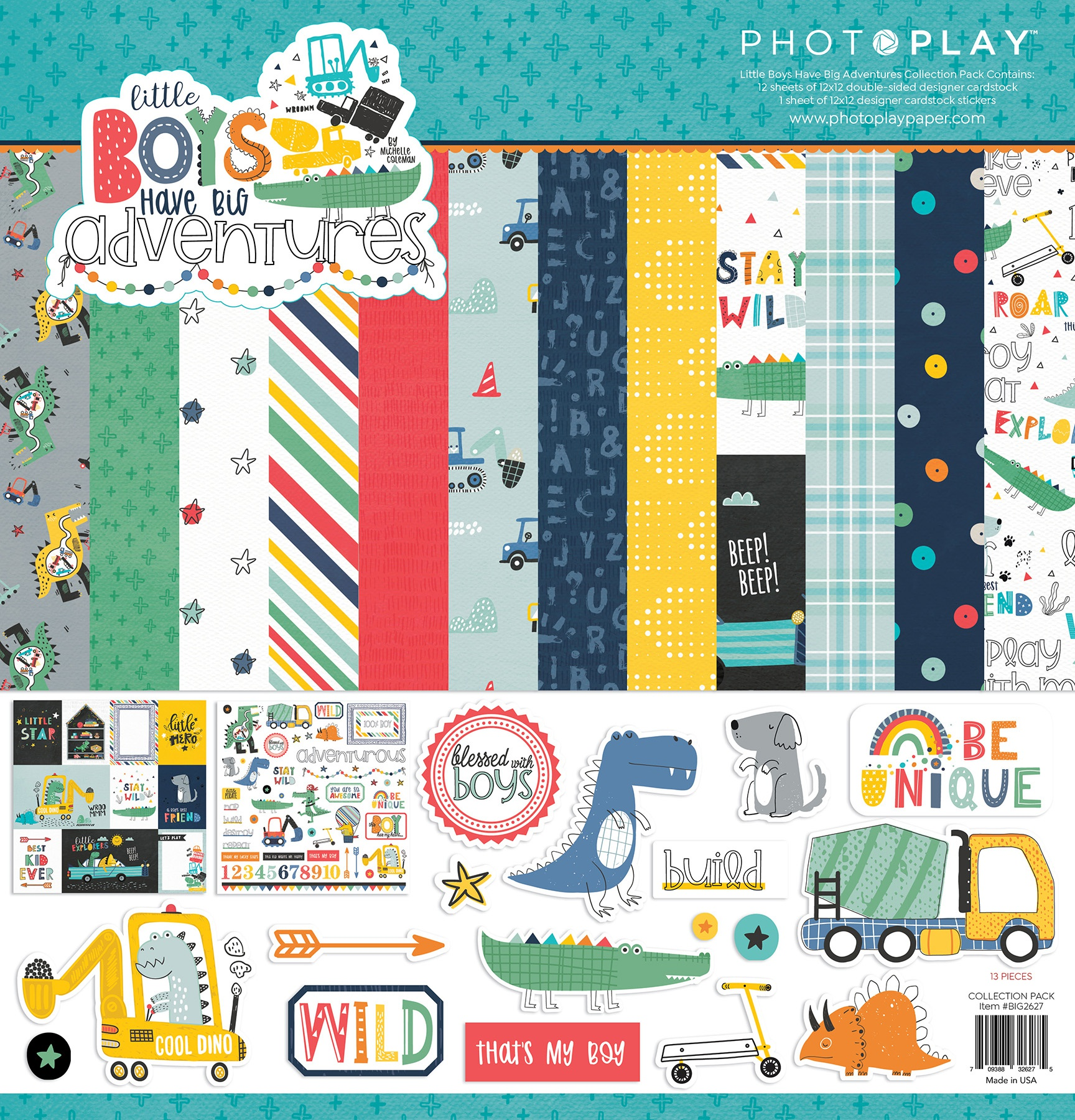 PhotoPlay Collection Pack 12X12 - Little Boys Have Big Adventures