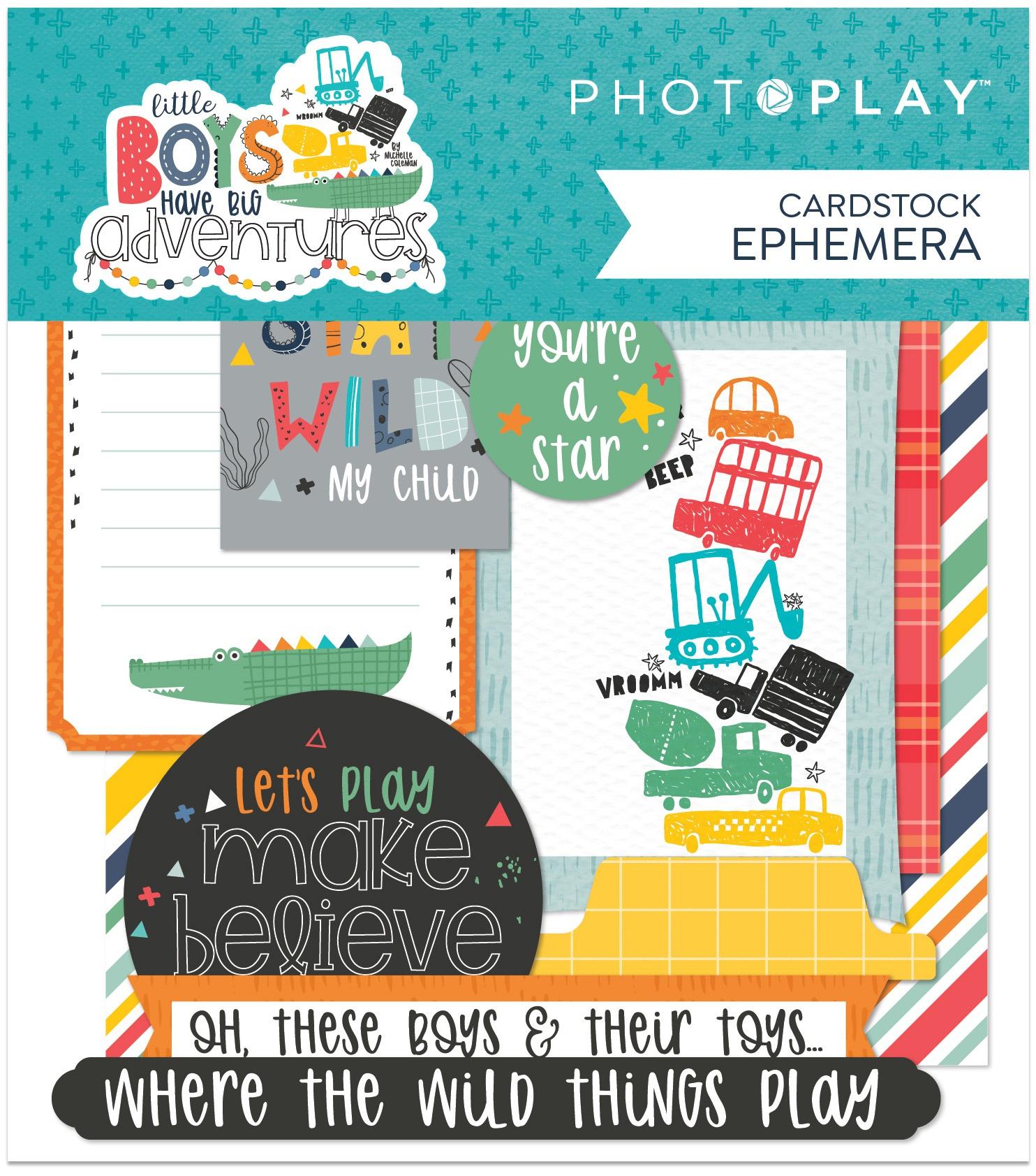 PP Little Boys Have Big Adventures Ephemera Cardstock Die-Cuts-