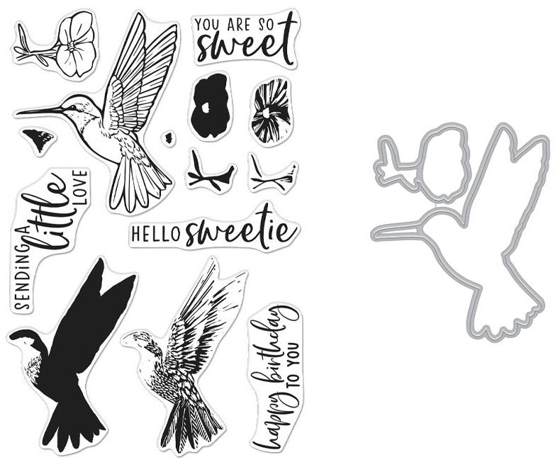 Hero Arts Clear Stamp & Die Combo-Color Layering Hummingbird
