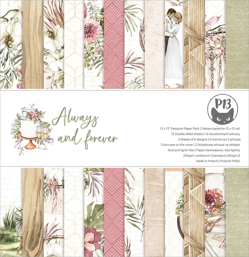 P13 Double-Sided Paper Pad 12X12 12/Pkg-Always & Forever