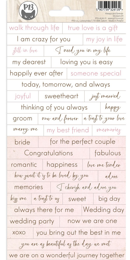 Always & Forever Cardstock Stickers 4X9-#01
