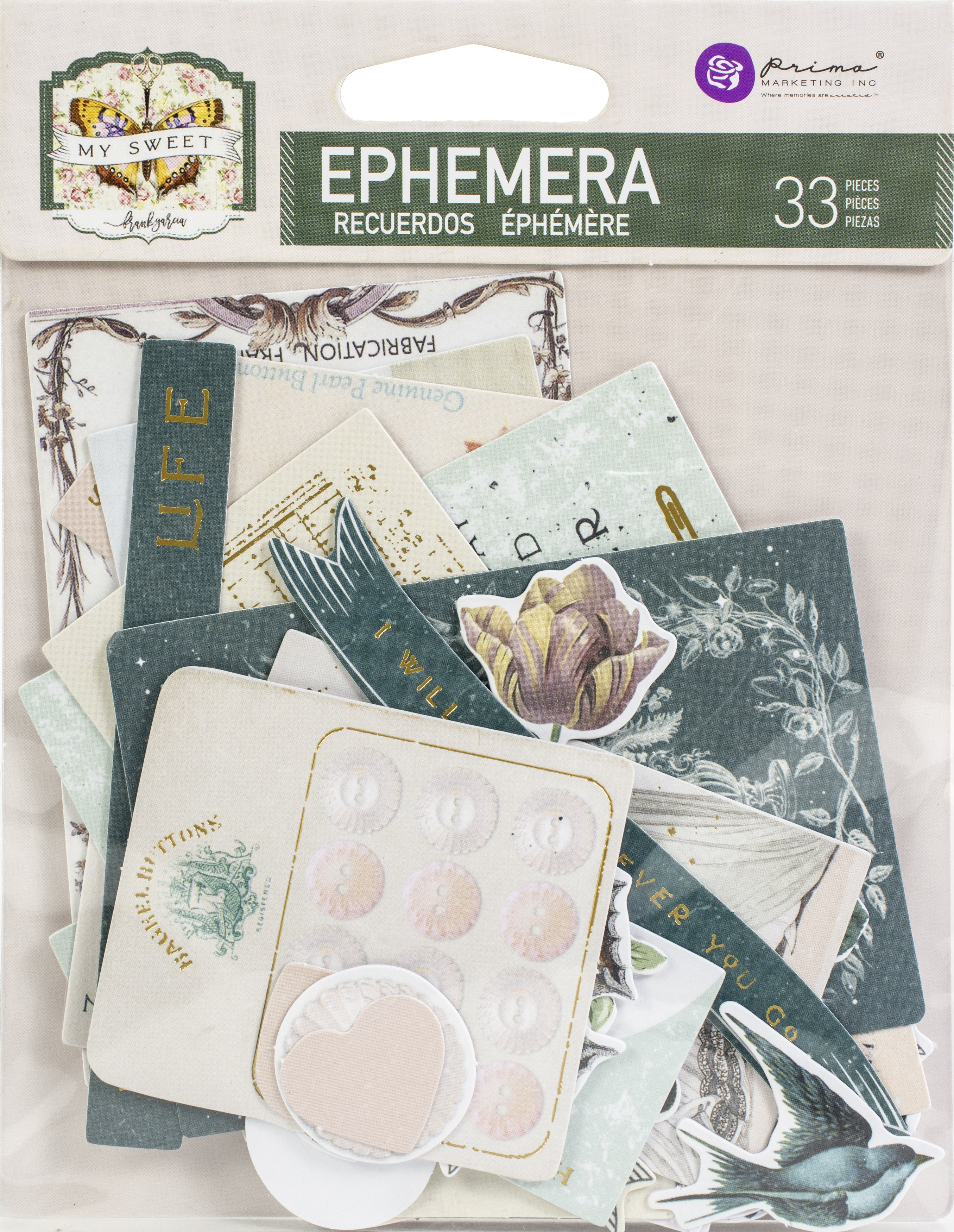 My Sweet By Frank Garcia Cardstock Ephemera 33/Pkg-Shapes, Tags, Words, Foiled A...