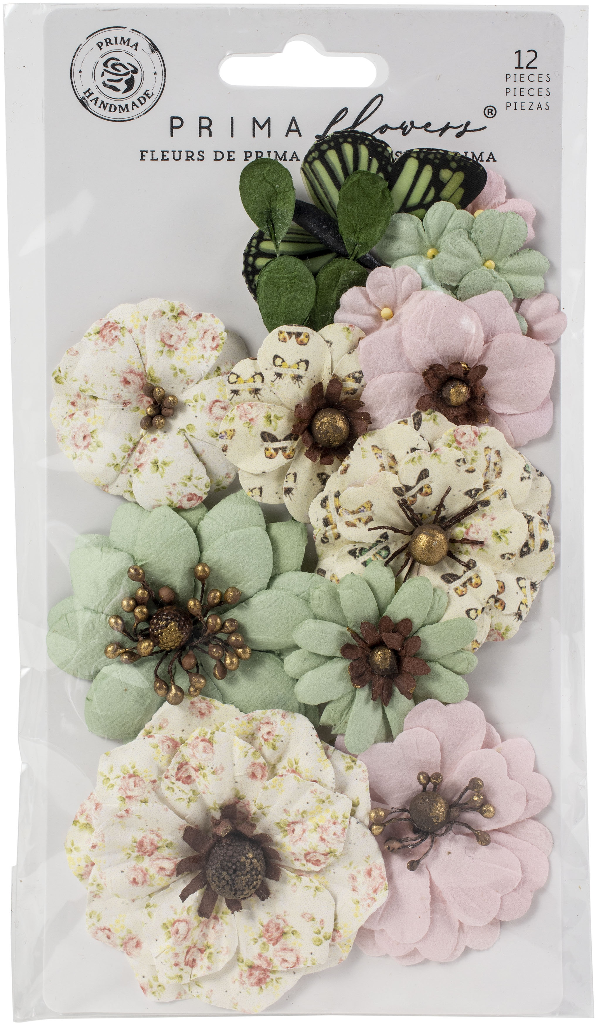 Prima Marketing Mulberry Paper Flowers-Sewn With Love/My Sweet