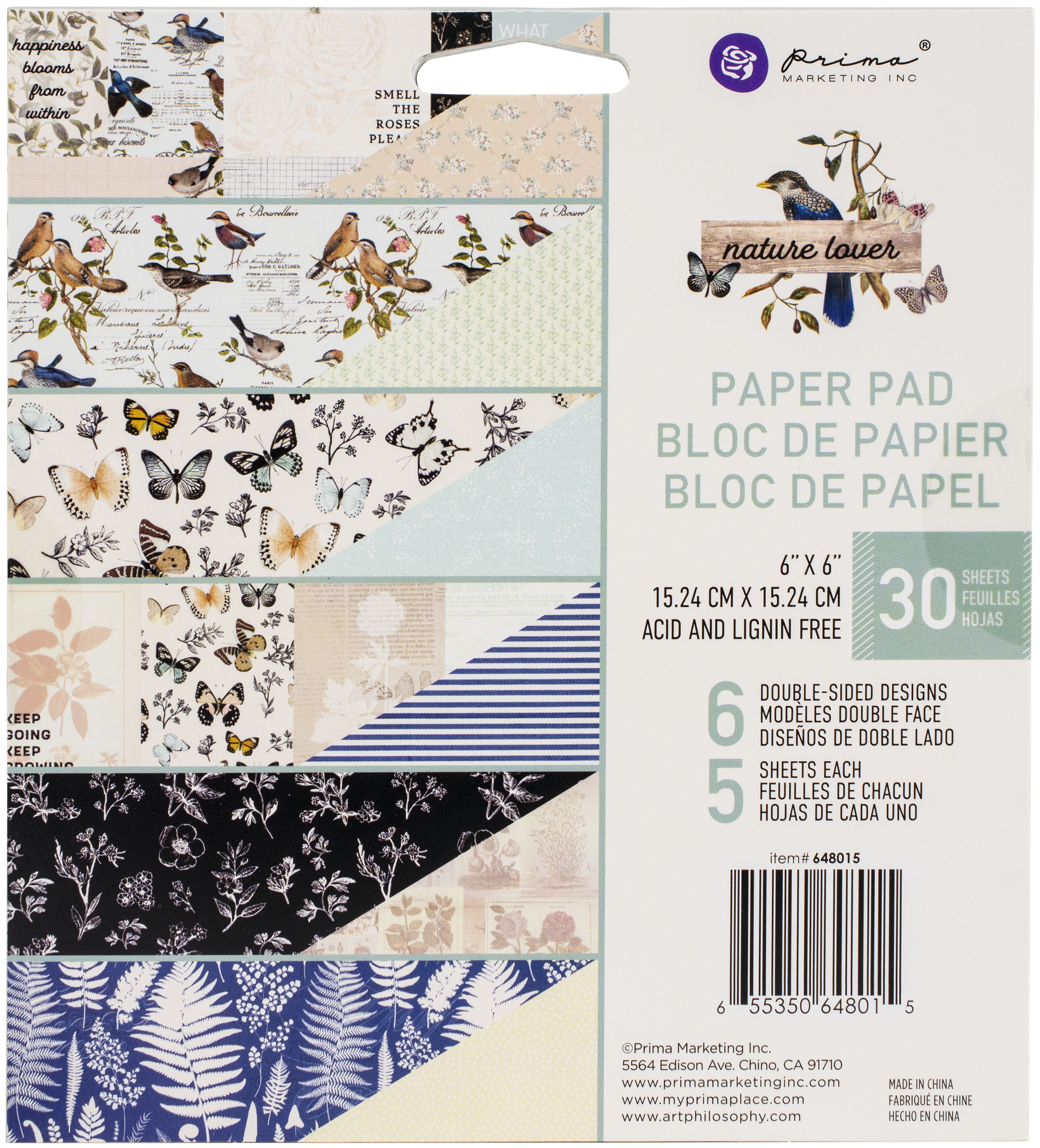 Prima Marketing Double-Sided Paper Pad 6X6 30/Pkg-Nature Lover