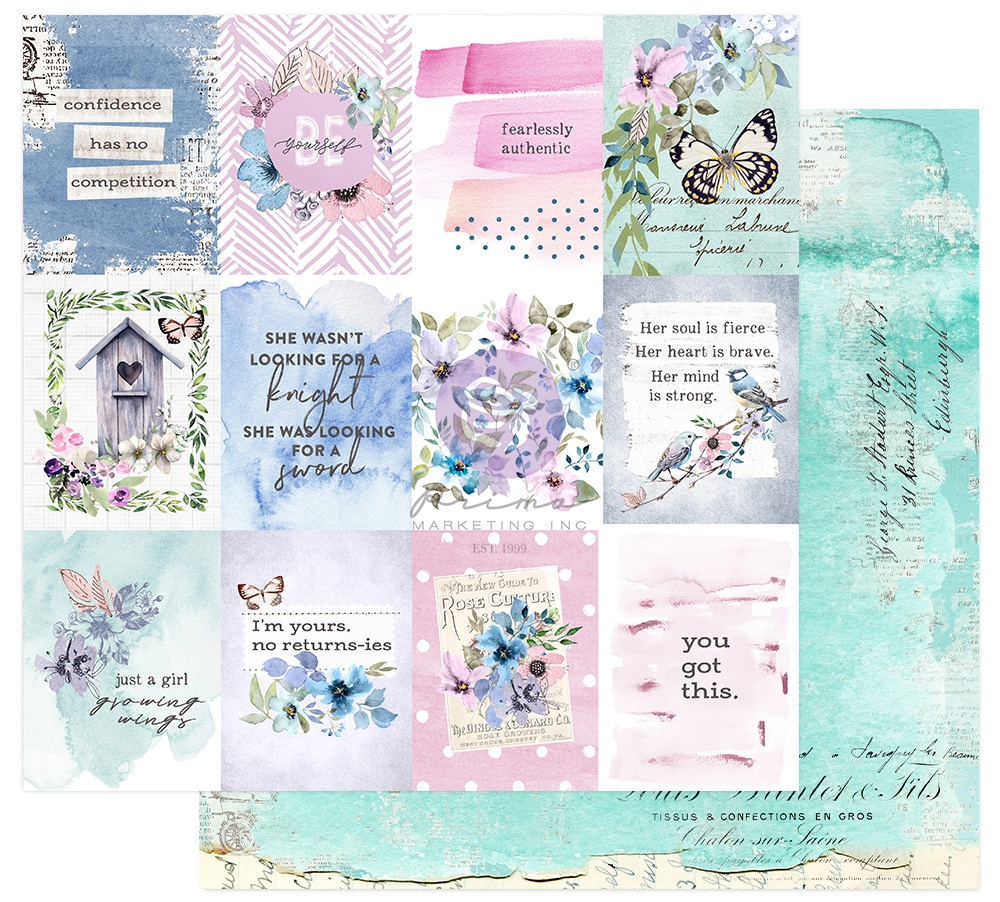 Prima Marketing Watercolor Floral Double-Sided Cardstock 12X12-Dreamy Florals