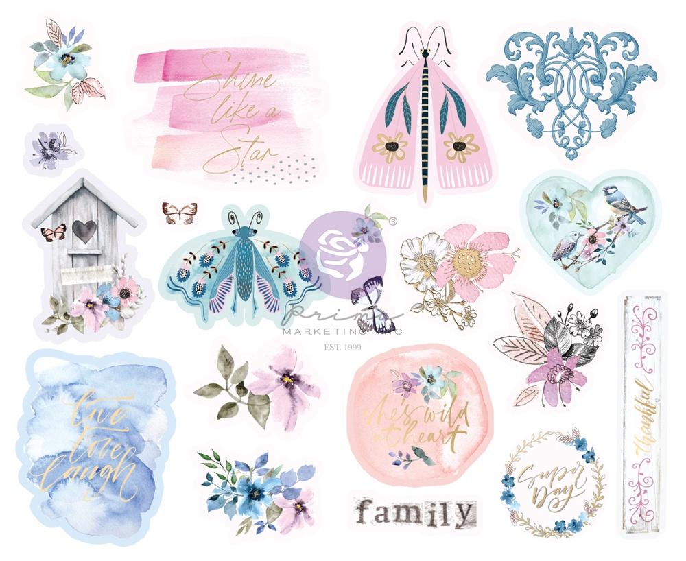 Watercolor Floral Chipboard Stickers 20/Pkg-Shapes W/Foil Accents
