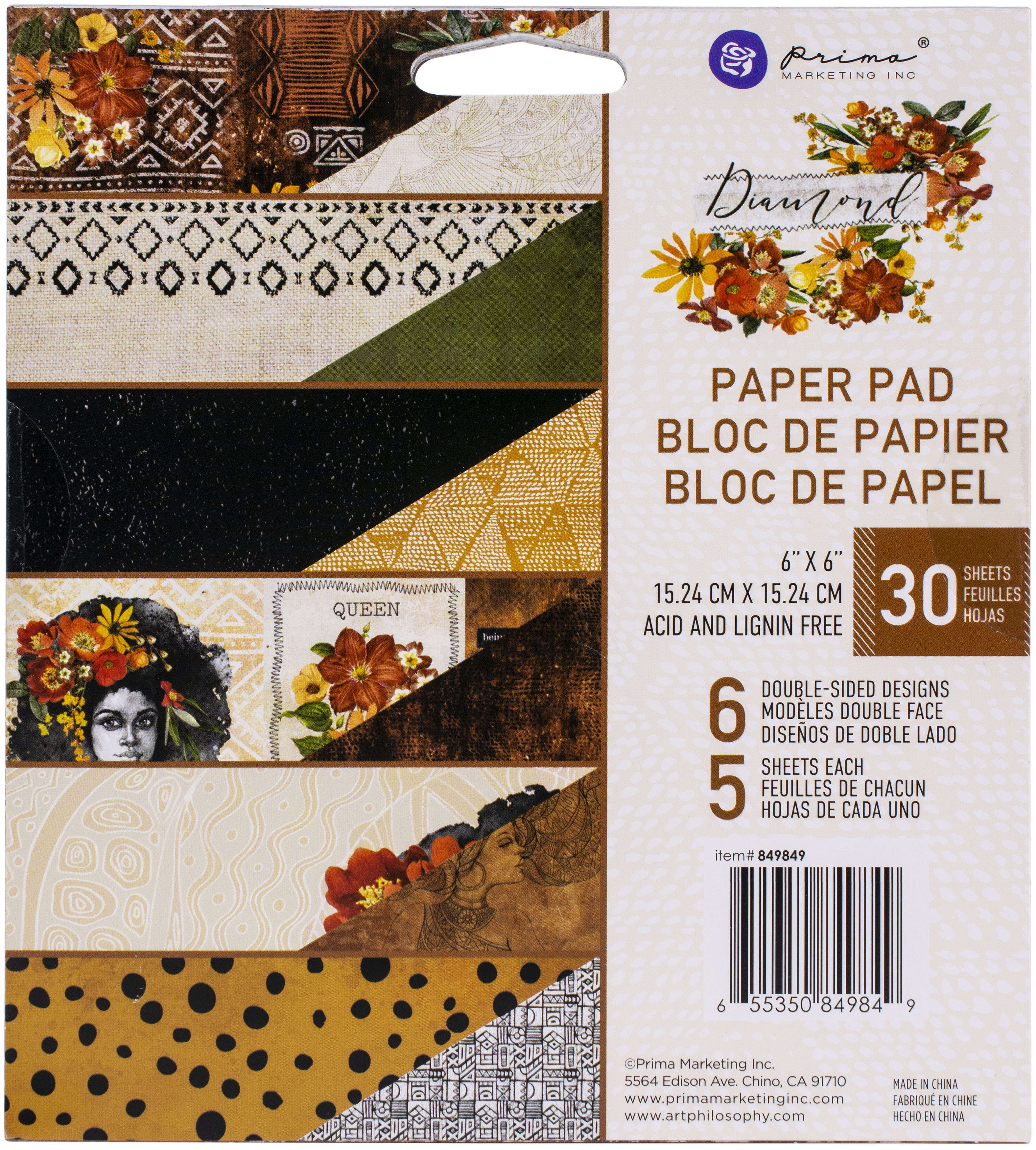 Prima Marketing Double-Sided Paper Pad 6X6 30/Pkg-Diamond