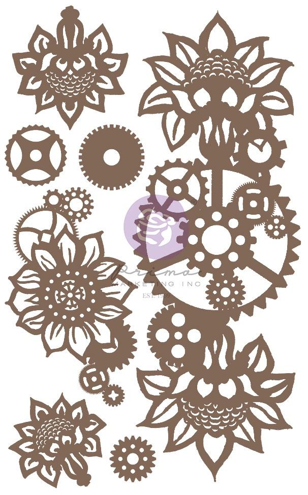 New! Finnabair Decorative Chipboard-Machine Floral Decors, 7/Pkg