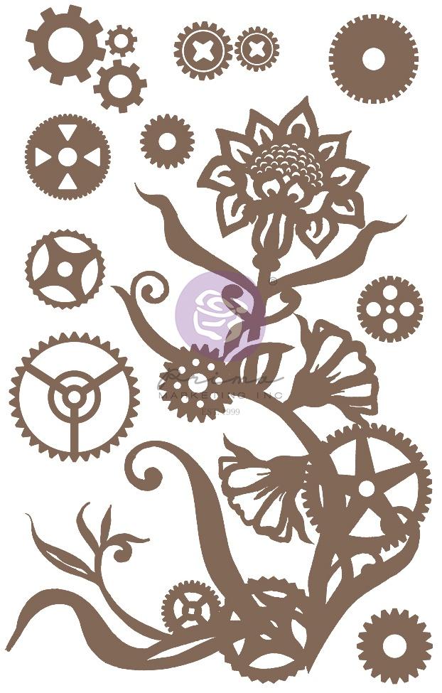 Finnabair Decorative Chipboard-Steampunk Flowers, 13/Pkg