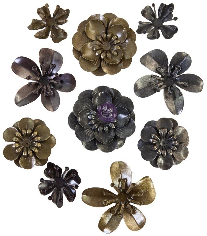 Finnabair Mechanicals Metal Embellishments-Metal Blooms, 10/Pkg