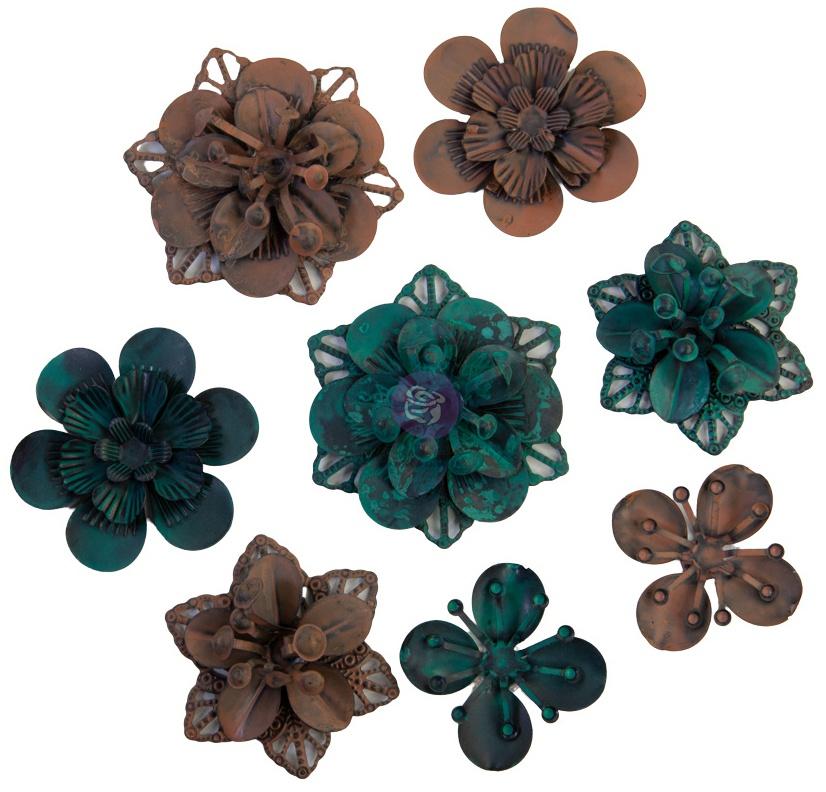 Finnabair Mechanicals Metal Embellishments Grungy Succulents, 8/Pkg