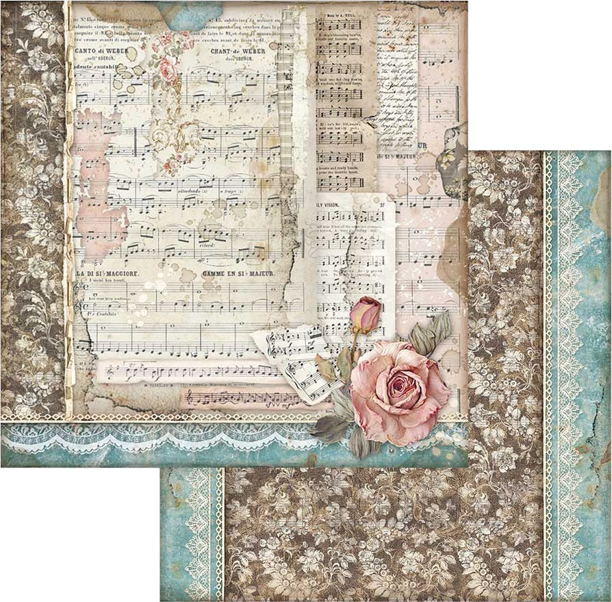 Stamperia Double-Sided Cardstock 12X12-Roses & Music, Passion