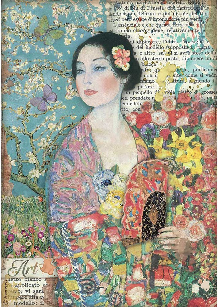 Stamperia Rice Paper Sheet A4-Dame With Fan, Atelier Des Arts