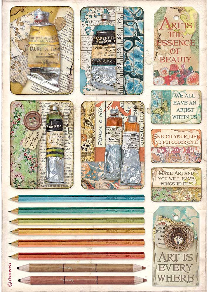 Stamperia Rice Paper Sheet A4-Tubes Of Paints & Pencils, Atelier Des A