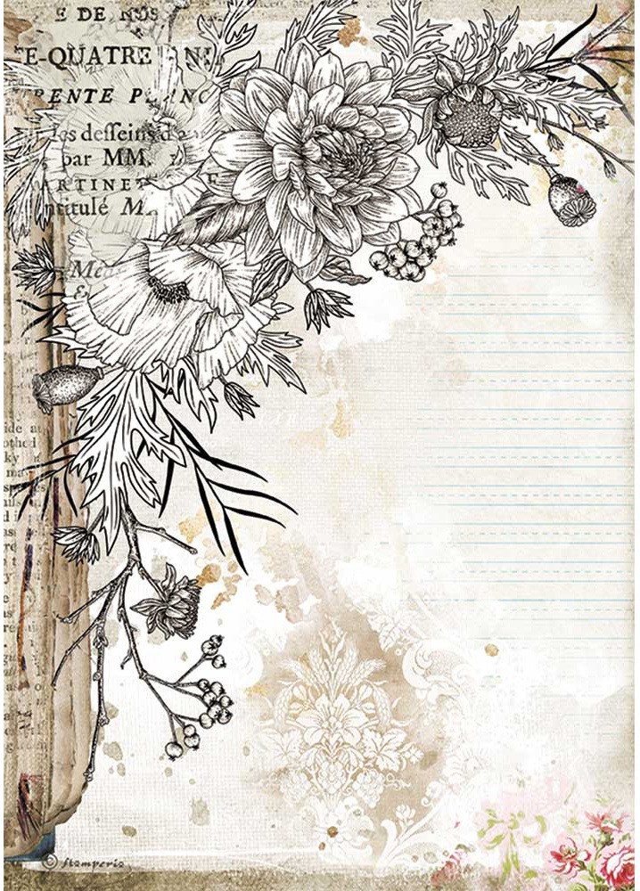 Stamperia Rice Paper Sheet A4-Journal Stylized Flower, Romantic