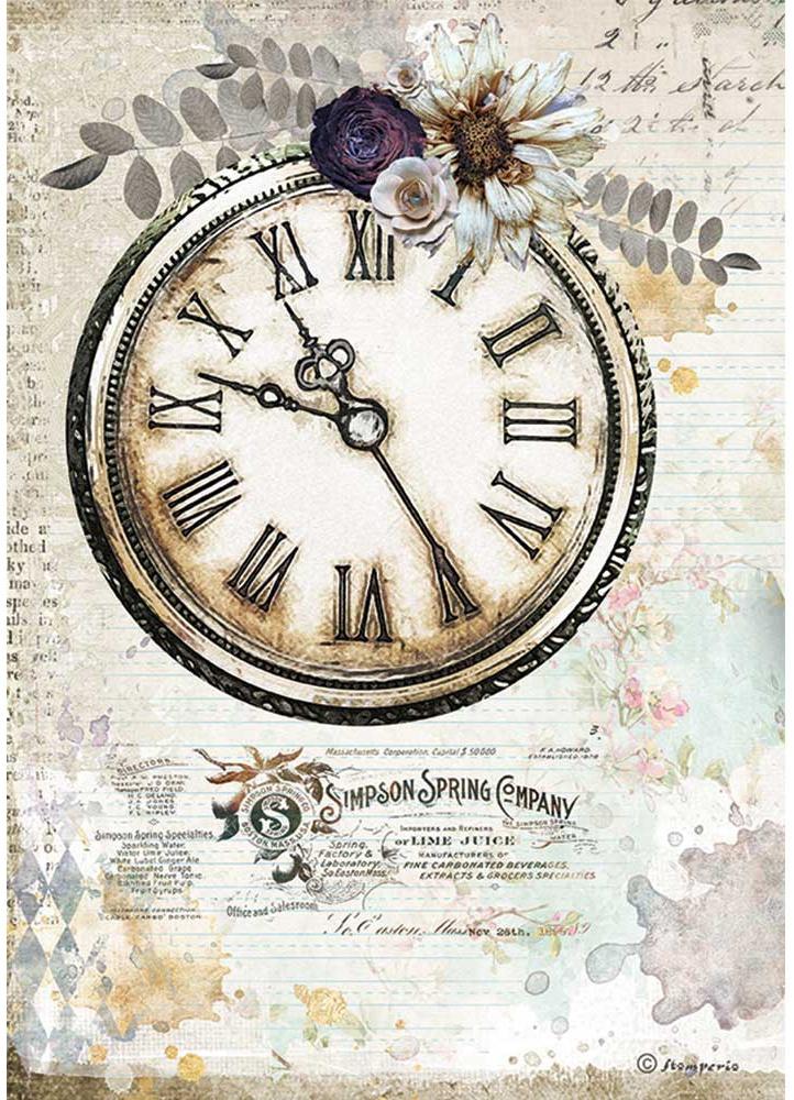Stamperia Rice Paper Sheet A4-Journal Clock, Romantic