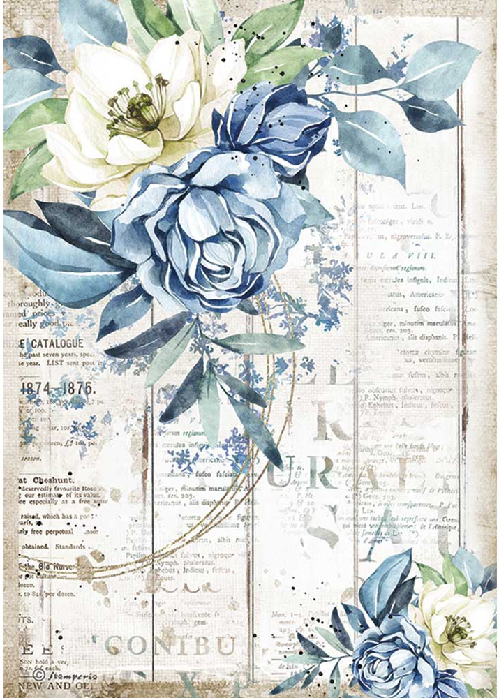 Stamperia Rice Paper Sheet A4-Sea Dream Blue Flower, Romantic