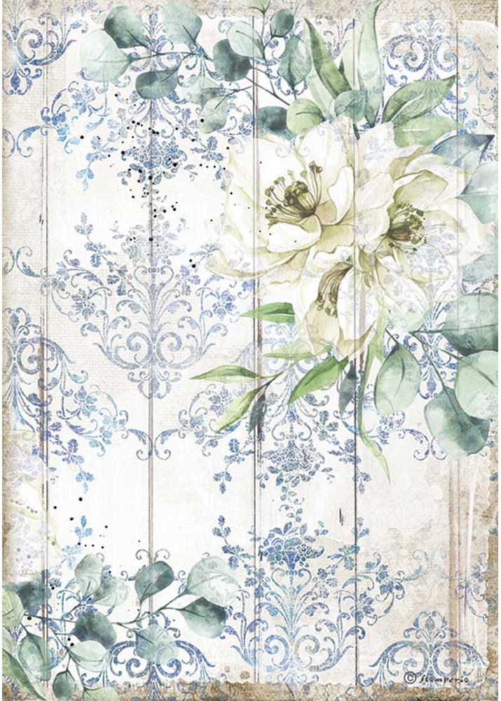 Stamperia Rice Paper Sheet A4-Sea Dream White Flower, Romantic