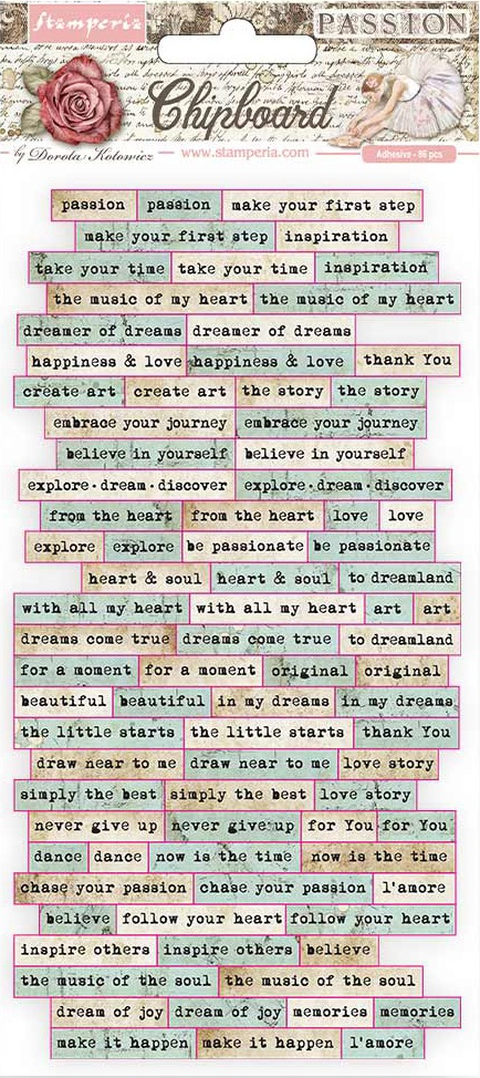 Stamperia Adhesive Chipboard 6X12-Passion Quotes
