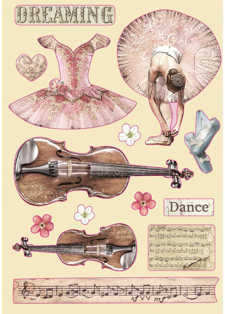 Stamperia Wooden Shapes A5-Violin & Dance, Passion